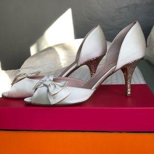 Kate Spade Ivory satin glitter heels